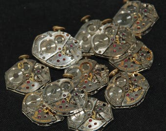 Vintage Watch Movements Parts Steampunk Altered Art Assemblage RB 87