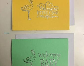 2 sets Heat embossed new baby cards w/ envelope A2 size