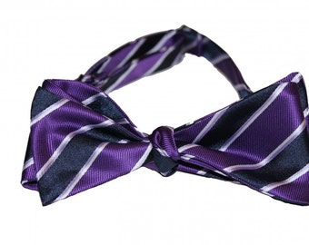 Bow Tie - Purple & Navy Stripes, Self-Tie Bow Tie