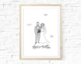 Illustrated Portrait, Alternative Guestbook, Bride and Groom Illustration, Personalized wedding Guestbook