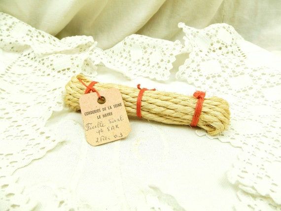 Antique French Unused Bundle of Sisal Twine with Original Label, New Old Stock Rope from France, Vintage Retro Haberdashery Craft Supplies