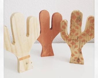 set of three original wooden Cactus