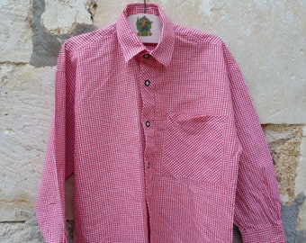 Vintage  1970s  Tyrol Austria trachten Gingham red cotton  shirt size  4 years