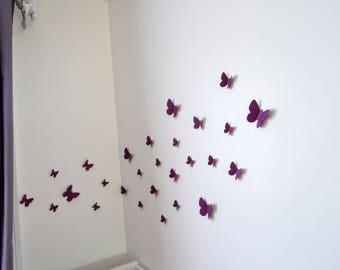 Purple 3D butterflies set for wall decoration
