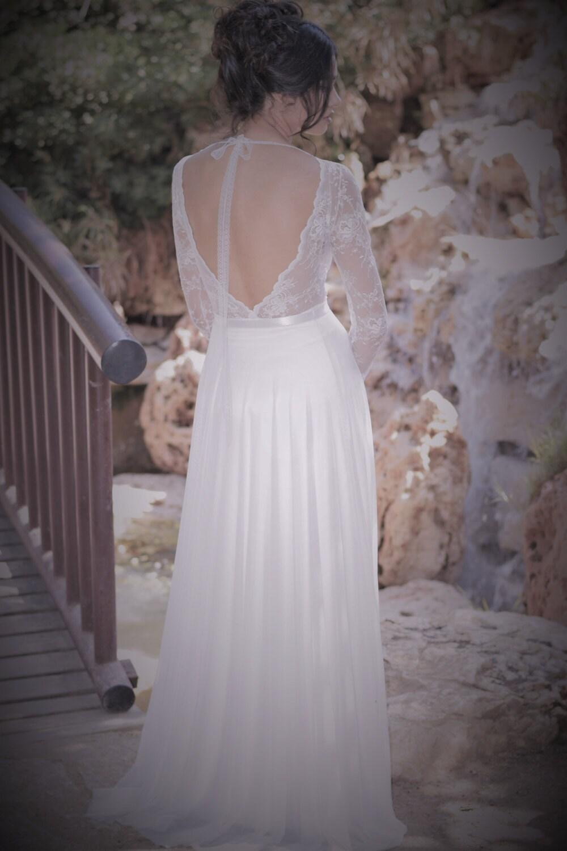 Emma romantische Hochzeitskleid mit langen Ärmeln aus Spitze