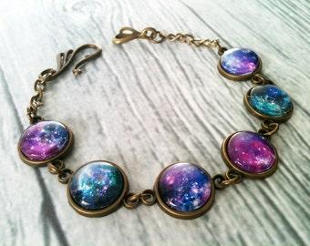 Space bracelet, galaxy bracelet, universe bracelet, solar system jewelry, astronomy, gift idea, geek jewelry, blue pink purple, mother's day