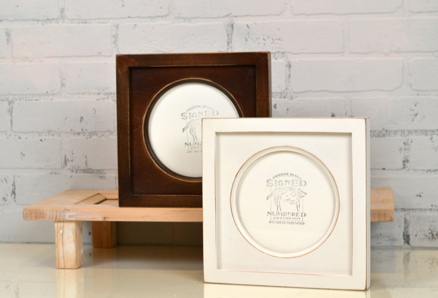 6x6 inch Circle Opening Photo / Picture Frame with Deep Flat Build ...