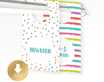 INSTANT DOWNLOAD - Rainbow Gender Neutral Baby Closet Dividers - Baby Clothes Divider - Closet Organizer - Baby Shower Gift
