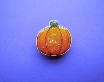 Hand Drawn Pumpkin Badge/Pin/Brooch