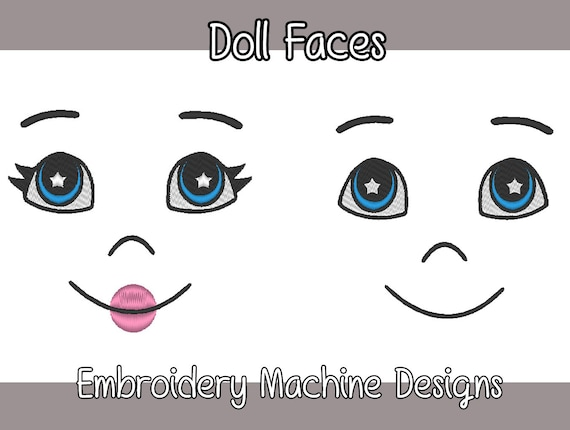 Doll Faces Machine Embroidery Designs For Ooakdiy Dolls 7 Included