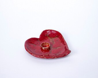 Wedding favor, favor gift, Handmade ceramic heart, Party favors, red heart, ceramic and pottery, jewellery dish, ring dish, ring holder
