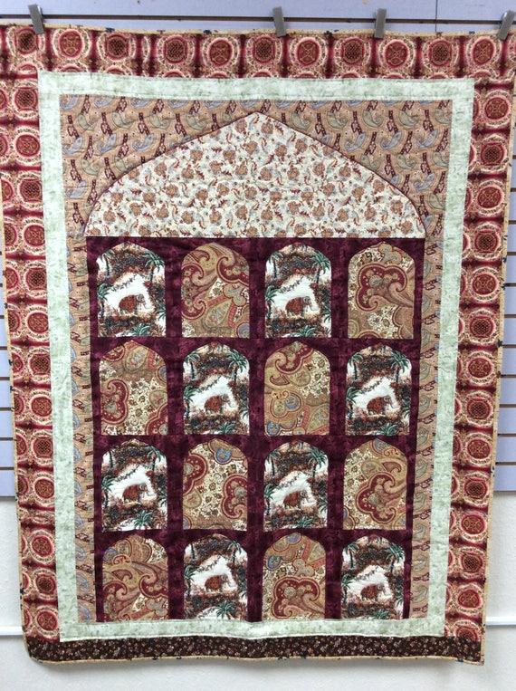 Bombay India Quilt Mumbai Culture 50 X 65 Reds Elephant Quilt Handmade
