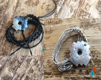 Soap stone chacana Andean cross, Inca cross  necklace pendant hand made tribal natural jewelry brown beige black macrame linen cord