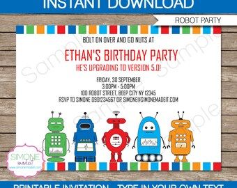 Robot Invitation Template - Birthday Party - INSTANT DOWNLOAD with EDITABLE text - you personalize at home