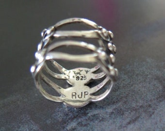 Vintage RJP TAXCO Mexico Sterling Silver Basket Ring sz 6