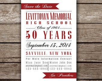 "Printable ""Save the Date"" Card for Class Reunion"