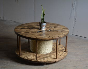 """Phippsburg Coffee Table - 40"""" Reclaimed wooden wire spool coffee table on castor wheels - other options, sizes and finishes available"""