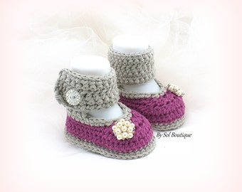 Baby Shoes,New Born Shoes,Mauve,Purple,Gray,Crochet Shoes,Photo Prop, Baby Ballet Shoes,Booties,Baby Shower,Gift for Baby, Christening
