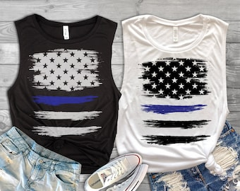 Thin Blue Line American Flag Ladies' Muscle Tank - Back the Blue Shirt - Blue Lives Matter Shirt - Police Officer Wife Tank Top - Cop Gifts