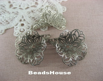 10pcs Silver Plated Flower Beadcaps Filigree Finding.