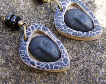 Polymer Clay face Earrings. Tribal Earrings. Boho Earrings. Black Earrings. Face Jewellery. Bead Earrings. Animal Print Earrings. Gift Idea.
