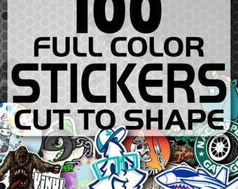 100 Custom Vinyl Stickers - Promotional Stickers - Choose your shape - Laminated Stickers - Not Paper Stickers