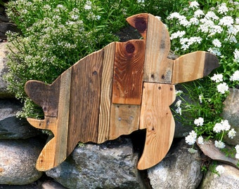 Reclaimed Planked Sea Turtle Home Decor
