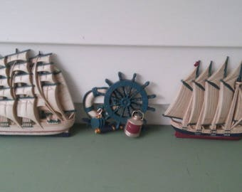 A Vintage 1970's Set Of 3, Nautical Ship Plaques, Red, White And Blue and Gold, By Burwood Products