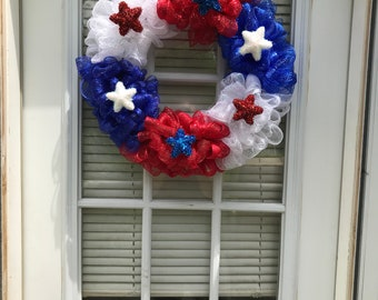 Patriotic deco mesh wreath