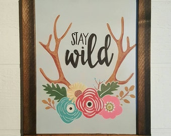 Stay Wild Colored Hand Drawn Chalkboard