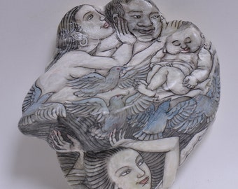 Stone painting- Happy family