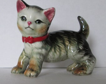 Kitten Figurine Vintage Red Bow Collar Gray Tabby
