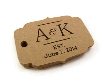 Personalized Tag - Custom Wedding Favor Tags - Wedding Tag - 40 Count - 1.75 x 1.25 in. - Kraft Tags - Favor Tag