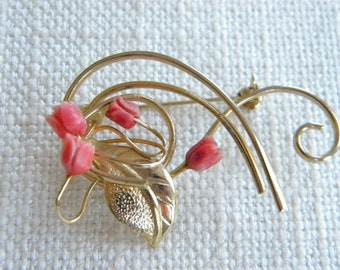 Vintage costume brooch Carved real CORAL roses ~ ~   ~ inA1779
