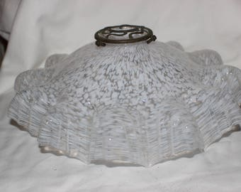 Lovely white ruffled frilled french glass lamp shade
