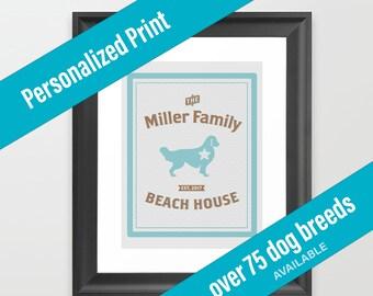 Dog Print Beach House Decor | Nautical Theme | Over 75 Dog Breeds Available | Housewarming Gift