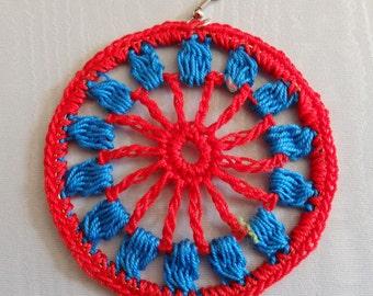 Mandala Crochet Hoop Earrings, Red and Blue