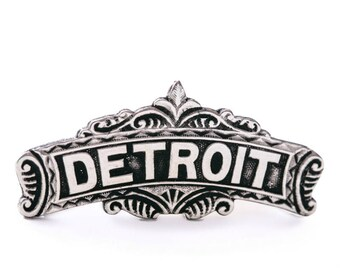 DETROIT Pin - Sterling Silver Cast from Vintage