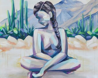 """Limited Edition Archival Print of """"Cacti Criss Cross"""" by Meredith Piper, figure painting"""