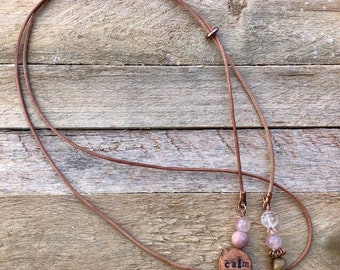 "Kiln-Fired Clay Diffuser Necklace.""Keep Calm."" Boho Leather Lariat Casual Asymmetrical.Rose Quartz.Rhodonite.Clear Quartz.Aromatherapy."