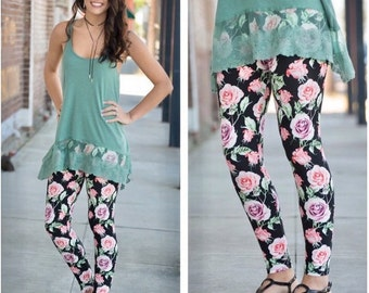 GORGEOUS Pink Rose Print Leggings for Women| Perfect for Spring and Summer!