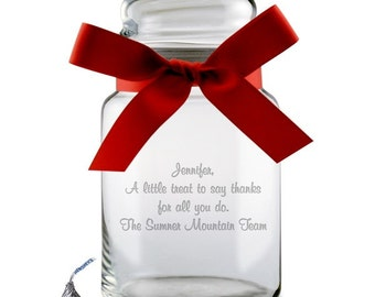 Engraved Glass Candy Jar