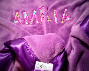 "Purple fleece blanket,  Personalized options,  Boutique gift for baby or toddler blanket, 40""x30"", Choose your satin color"