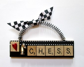 Love Chess Scrabble Tile Ornaments