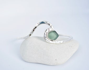 Wave Cuff with Sea Glass, Sterling Silver, Ocean Jewelry, Gift for her, Ocean Inspired, Surfer Jewelry, Mermaid Jewelry