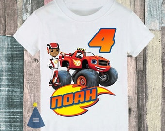 Blaze monster machine AJ Custom Birthday Party Shirt - personalized with name and age