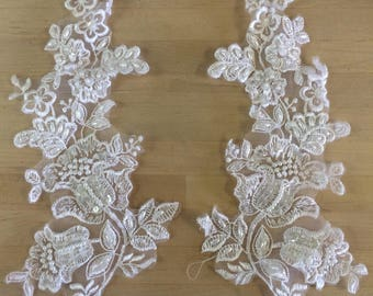 White Beaded Applique floral applique bridal appliques bridal embellishment notions for bridal gown