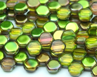 30x Czech Honeycomb Beads 6mm Hexagonal 2 Hole Magic Yellow Brown