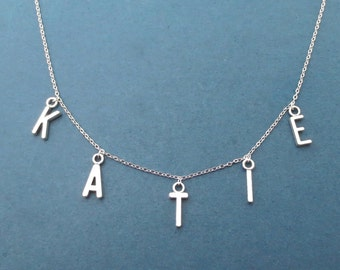 Personalized, Letter, Initial, Name, Silver, Necklace, Choker, Capital letter, Alphabet, Necklace, Best friends, Gift, Jewelry