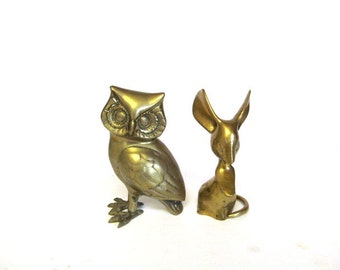 Vintage Brass Owl and Mouse Figurines